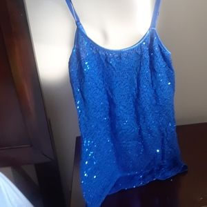 Blue shimmery tank top
